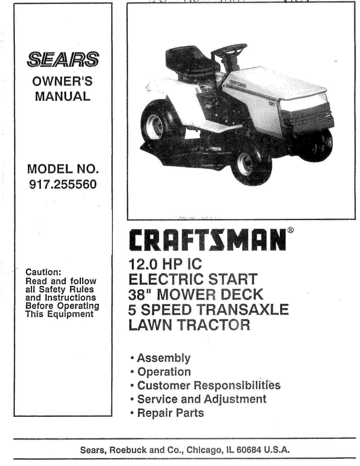 Craftsman 917255560 User Manual Lawn, Tractor Manuals And Guides ...