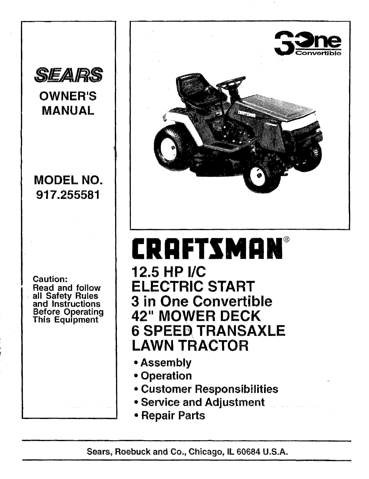 Craftsman 917255581 User Manual TRACTOR Manuals And Guides