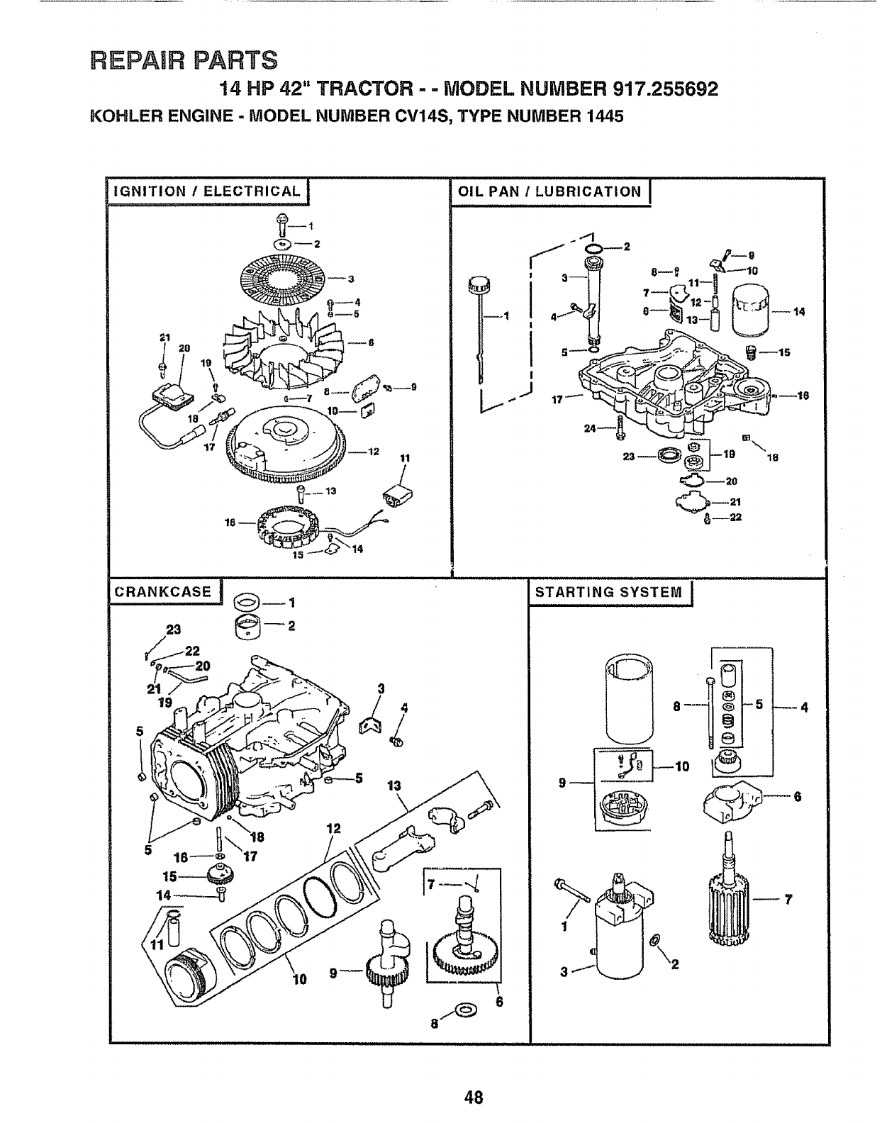 Craftsman 917255692 User Manual Lawn Tractor Manuals And Guides Sears 26 Horse Kohler Engine Electrical Diagram Repaurparts