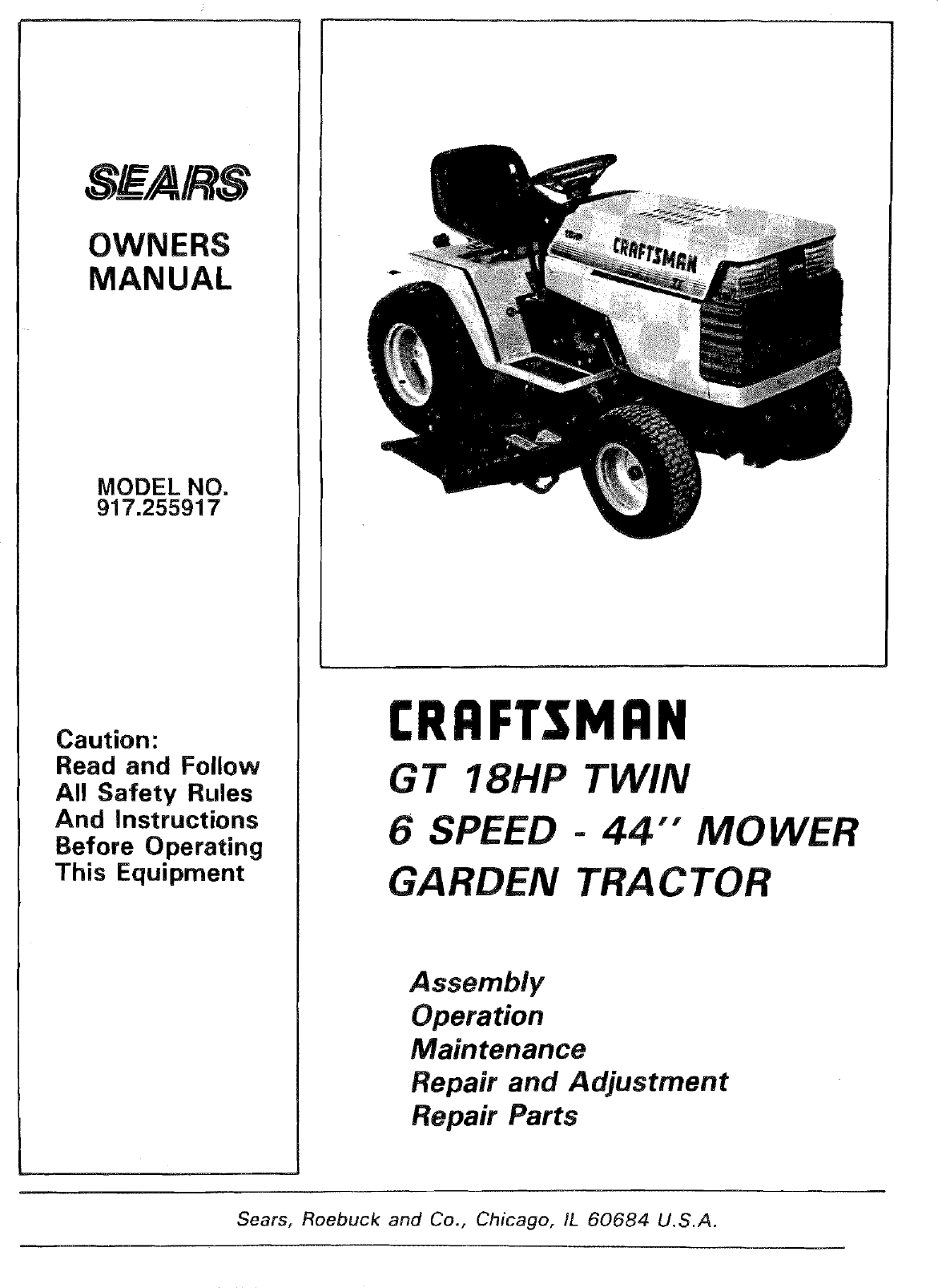 Wiring Diagram Sears Gt18