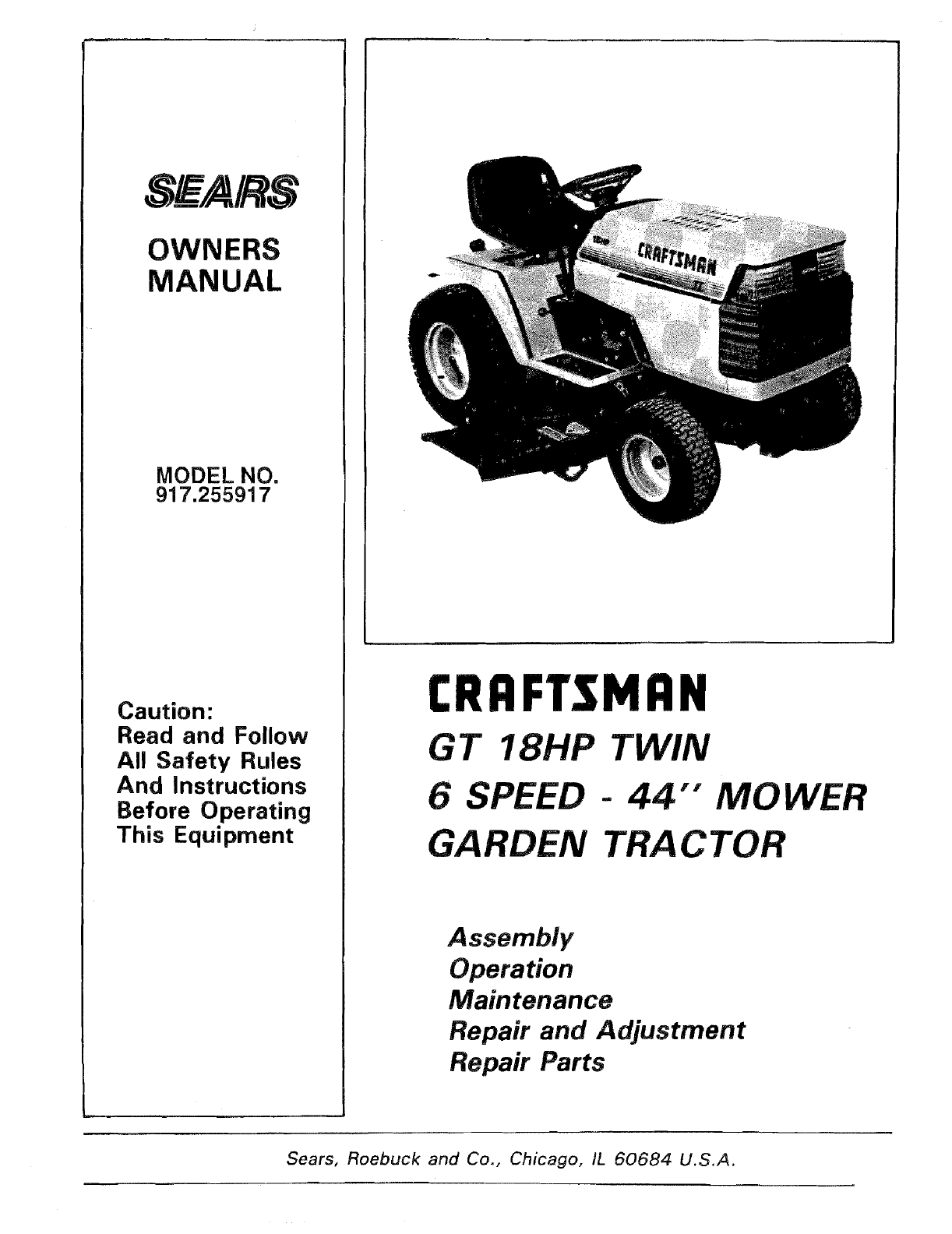 Craftsman 917255917 User Manual GT 18 TWIN GARDEN TRACTOR Manuals And  Guides L0709203UserManual.wiki
