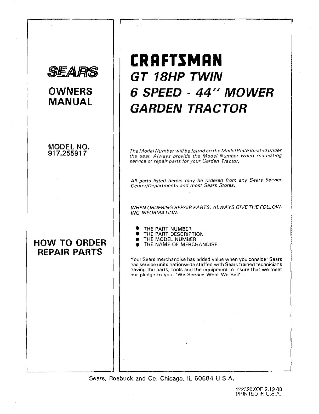 Details about  /Sears Craftsman GT 18HP Lawn Mower 44 inch Instruction Maint Parts Manual