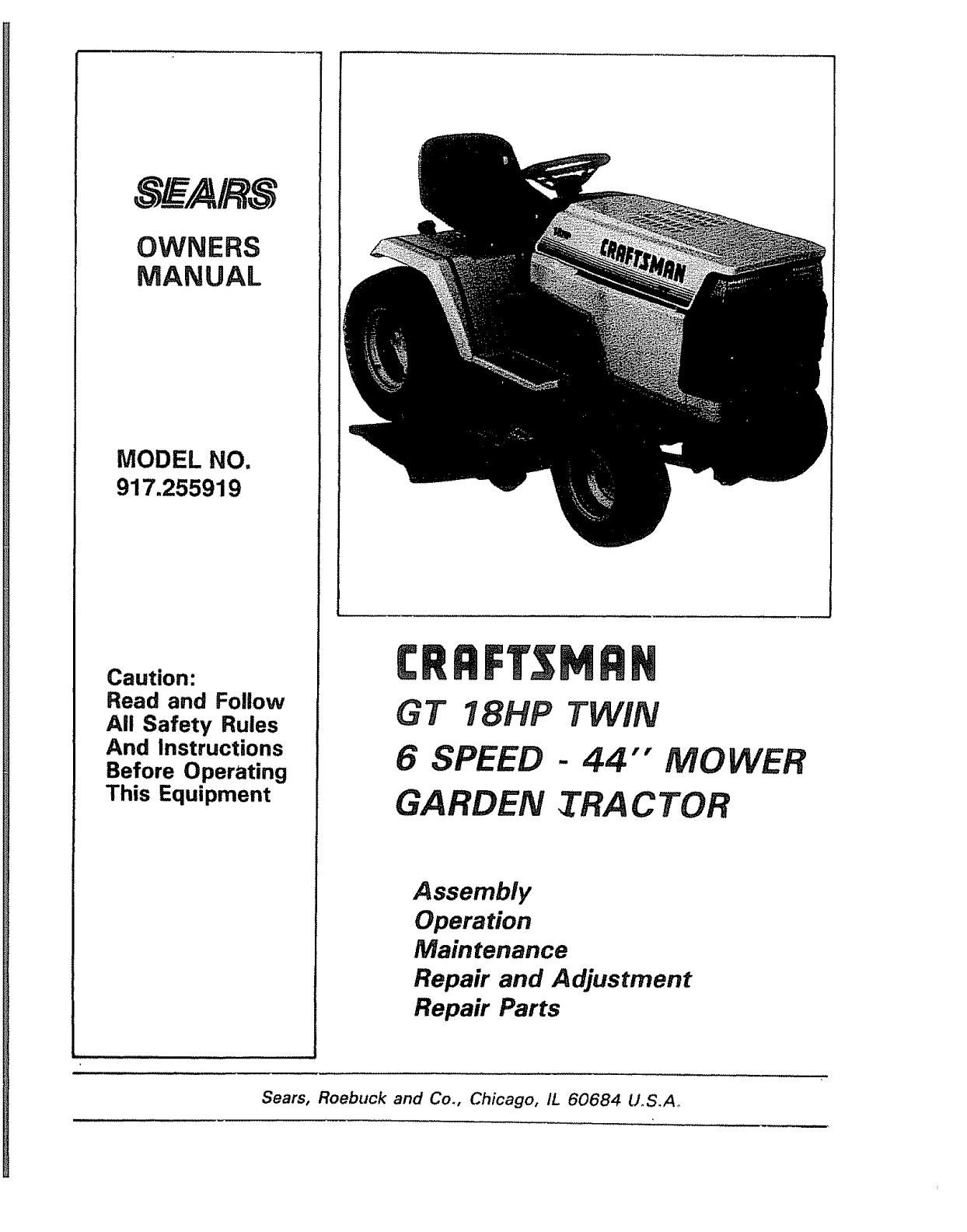 Craftsman 18 Hp Garden Tractor Manual - Garden and Modern