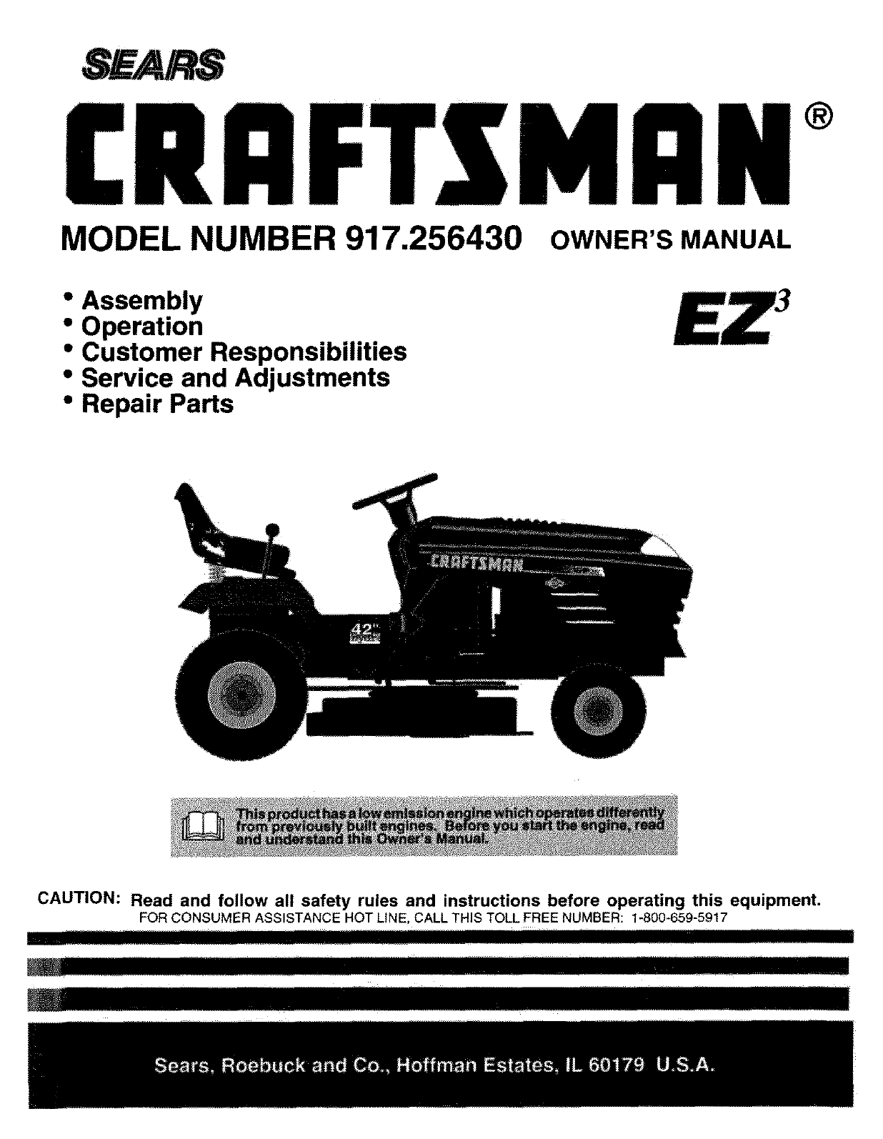 craftsman 917256430 user manual tractor manuals and guides l0807112