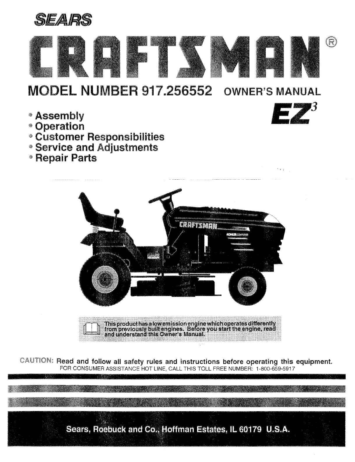 Craftsman 917256552 User Manual TRACTOR Manuals And Guides