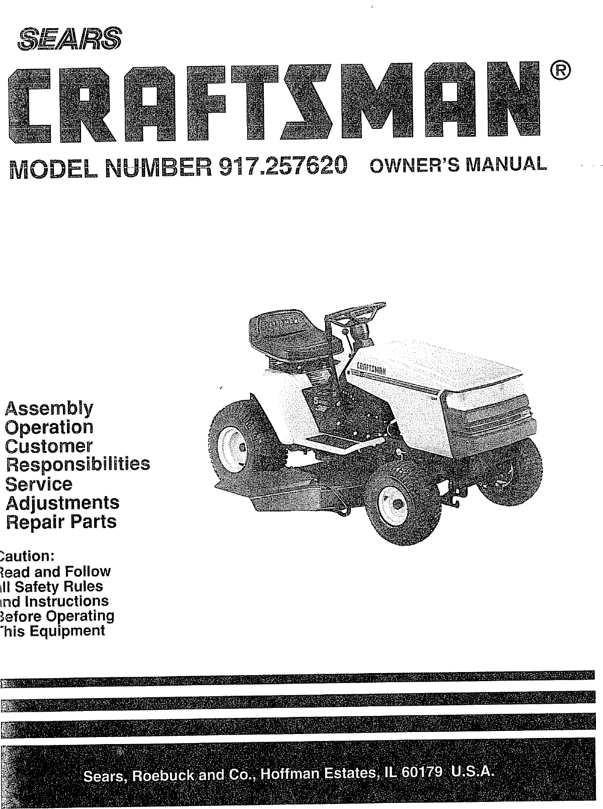 Craftsman 917257620 User Manual Lawn Tractor Manuals And Guides Electric Schematic Maker Jam Jelly Diagram Image Lr707473