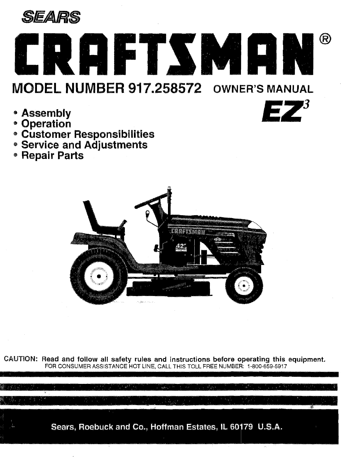 Craftsman 917258572 User Manual Tractor Manuals And Guides L0709063 Ski Doo Wiring Diagram Hot Grips