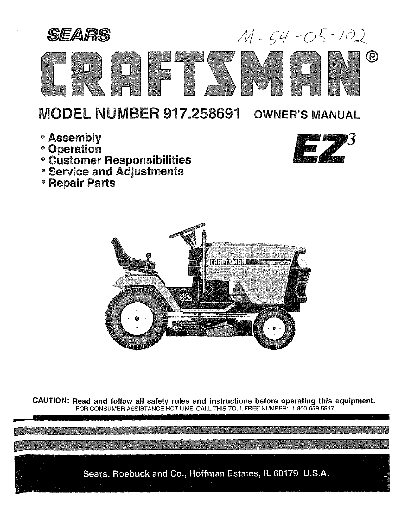 Craftsman 917258691 User Manual Tractor Manuals And Guides L0806170 Wiper Motor Wiring Iains Seven