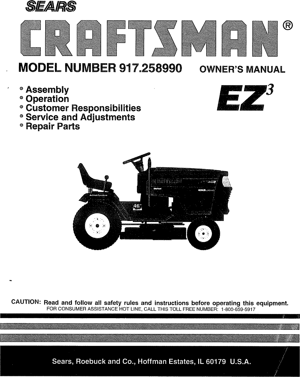 Craftsman 917258990 User Manual Tractor Manuals And Guides L0804240 Circuit Schematic For Fuel Injector Control Applicationscar Wiring
