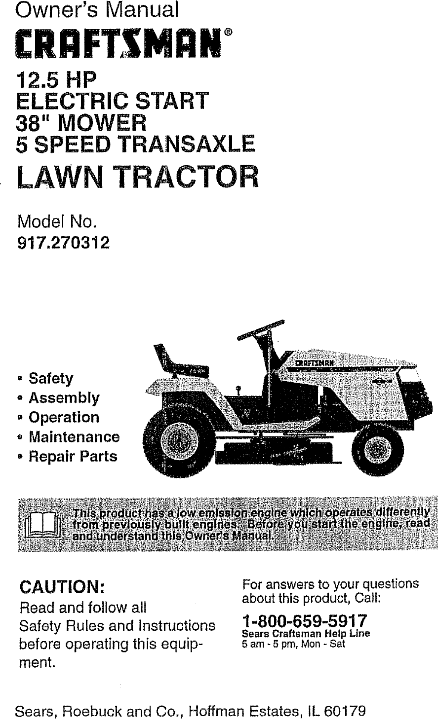 Craftsman 917270312 User Manual TRACTOR Manuals And Guides
