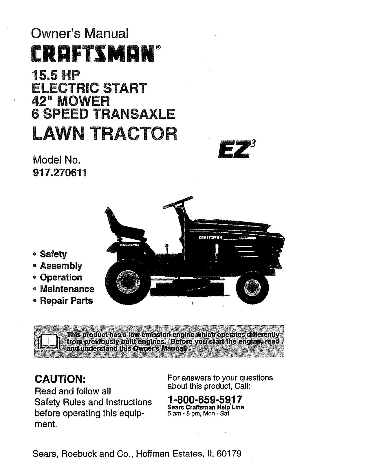 Owners Manual Craftsman Lawn Mower 917 Model 289223 Wiring Diagram Sears