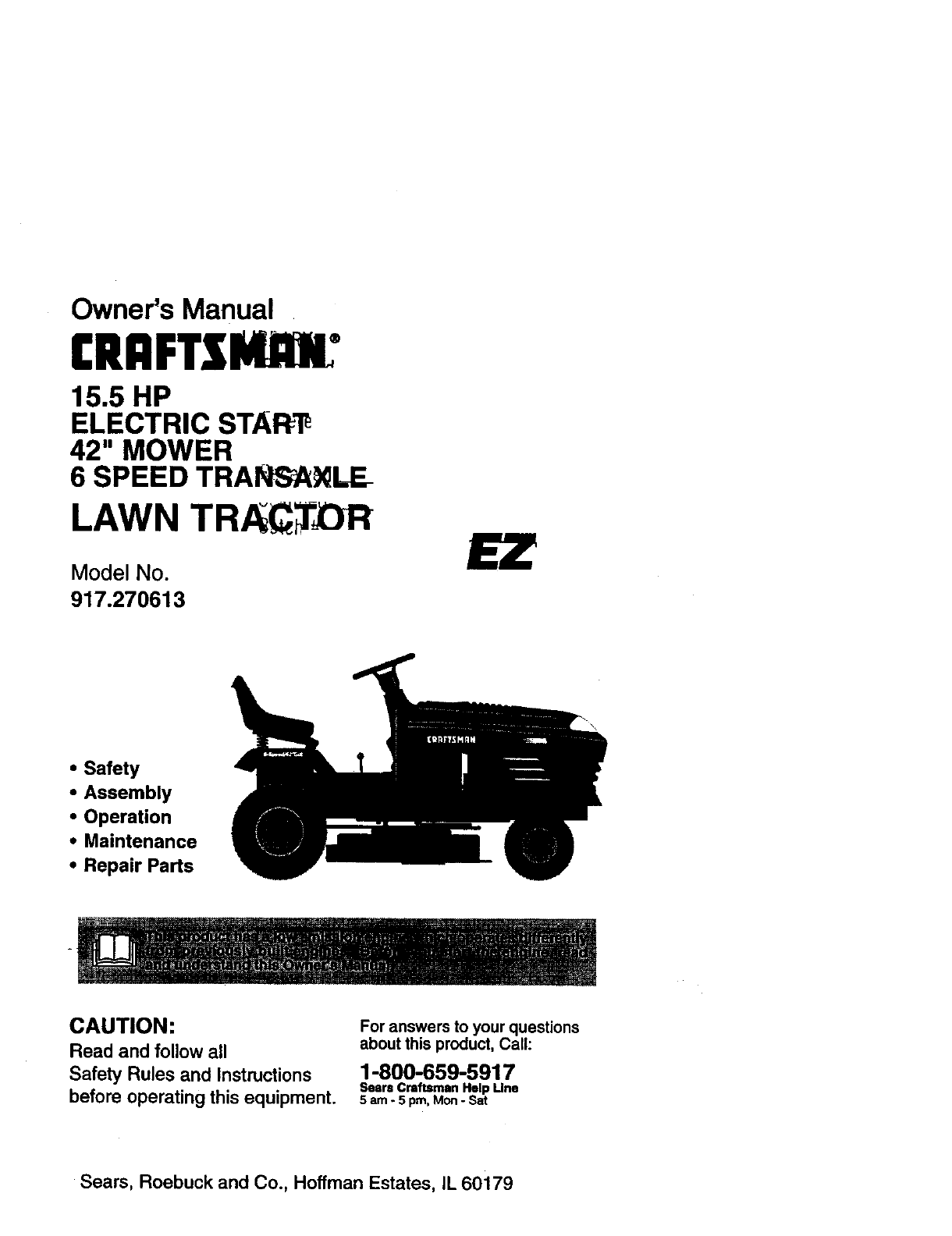 Craftsman 917270613 User Manual Tractor Manuals And Guides 98100085 15 5 Hp Wiring Diagram