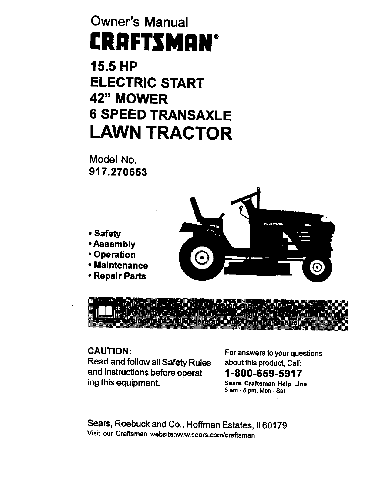 craftsman 917270653 user manual 15.5hp lawn mower manuals and guides  l9120312  usermanual.wiki