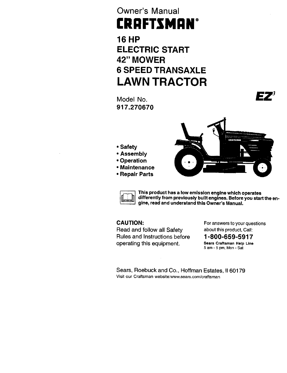 Craftsman 917270670 User Manual Lawn Tractor Manuals And