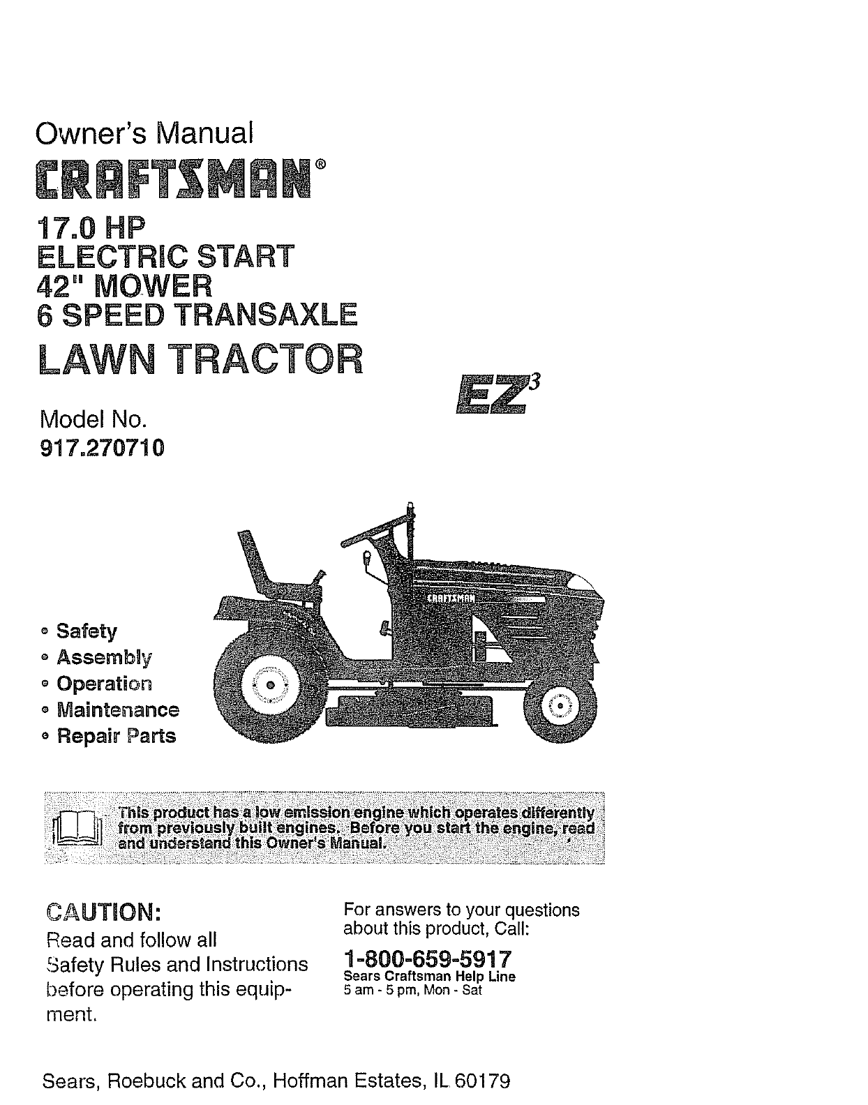 craftsman 917270710 user manual lawn tractor manuals and guides l0807098 rh usermanual wiki owners manual for craftsman riding mower owners manual for craftsman riding mower