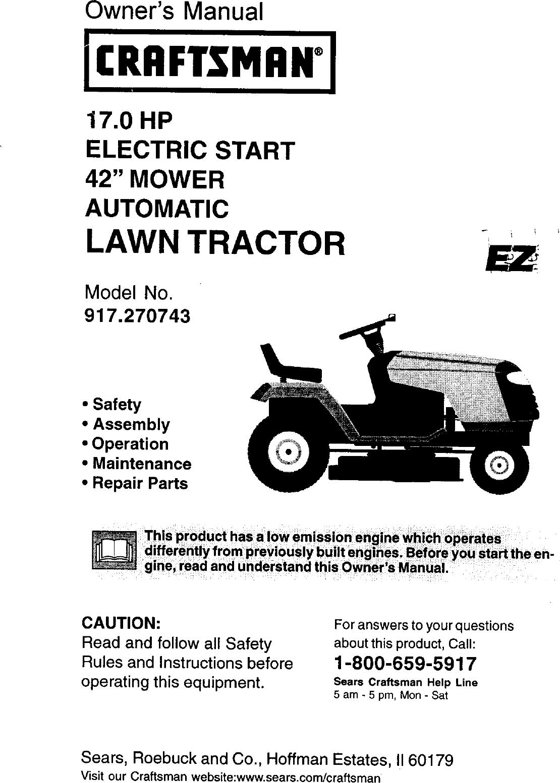 Craftsman 917270743 User Manual 42 Lawn Tractor Manuals