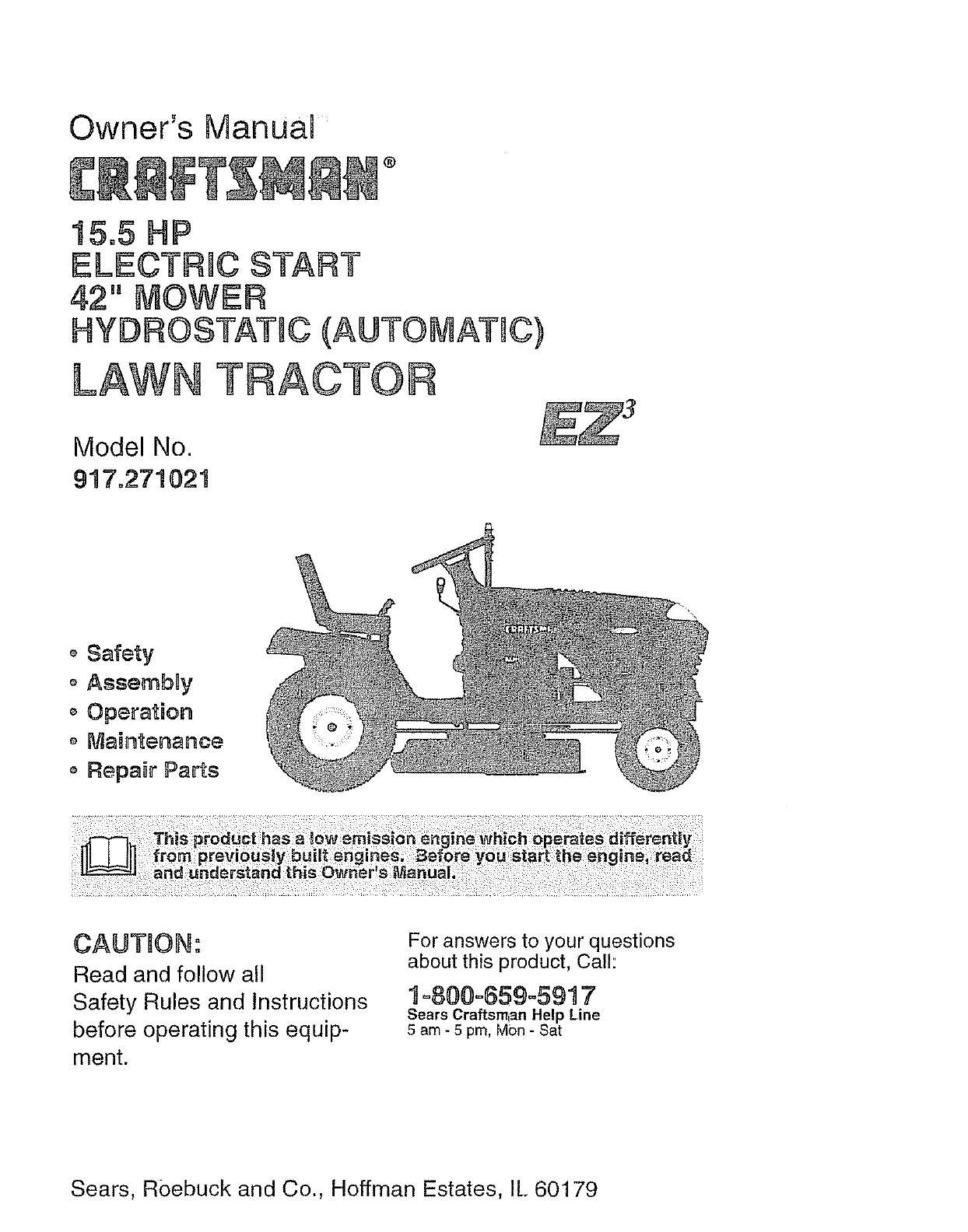 Craftsman 917271021 User Manual TRACTOR Manuals And Guides L0806846UserManual.wiki