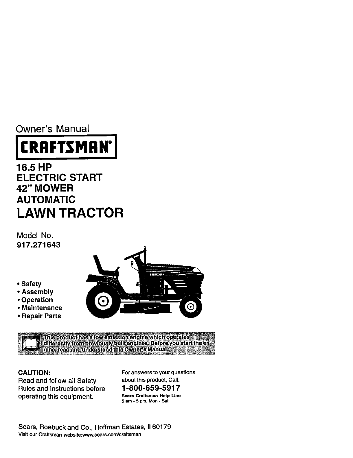 Craftsman 917271643 User Manual LAWN TRACTOR Manuals And Guides L0104165
