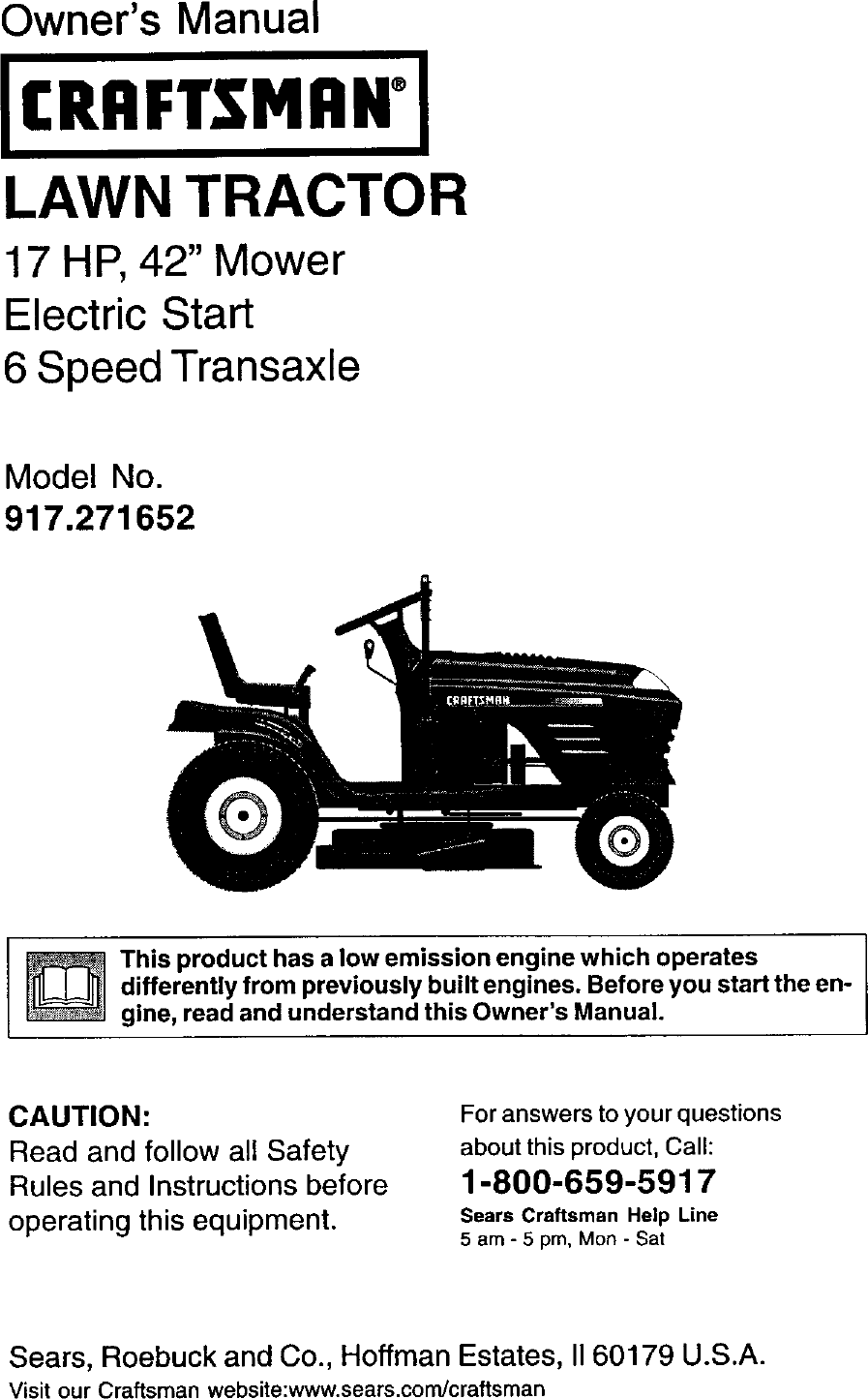 Craftsman 917271652 User Manual Lawn Tractor Manuals And