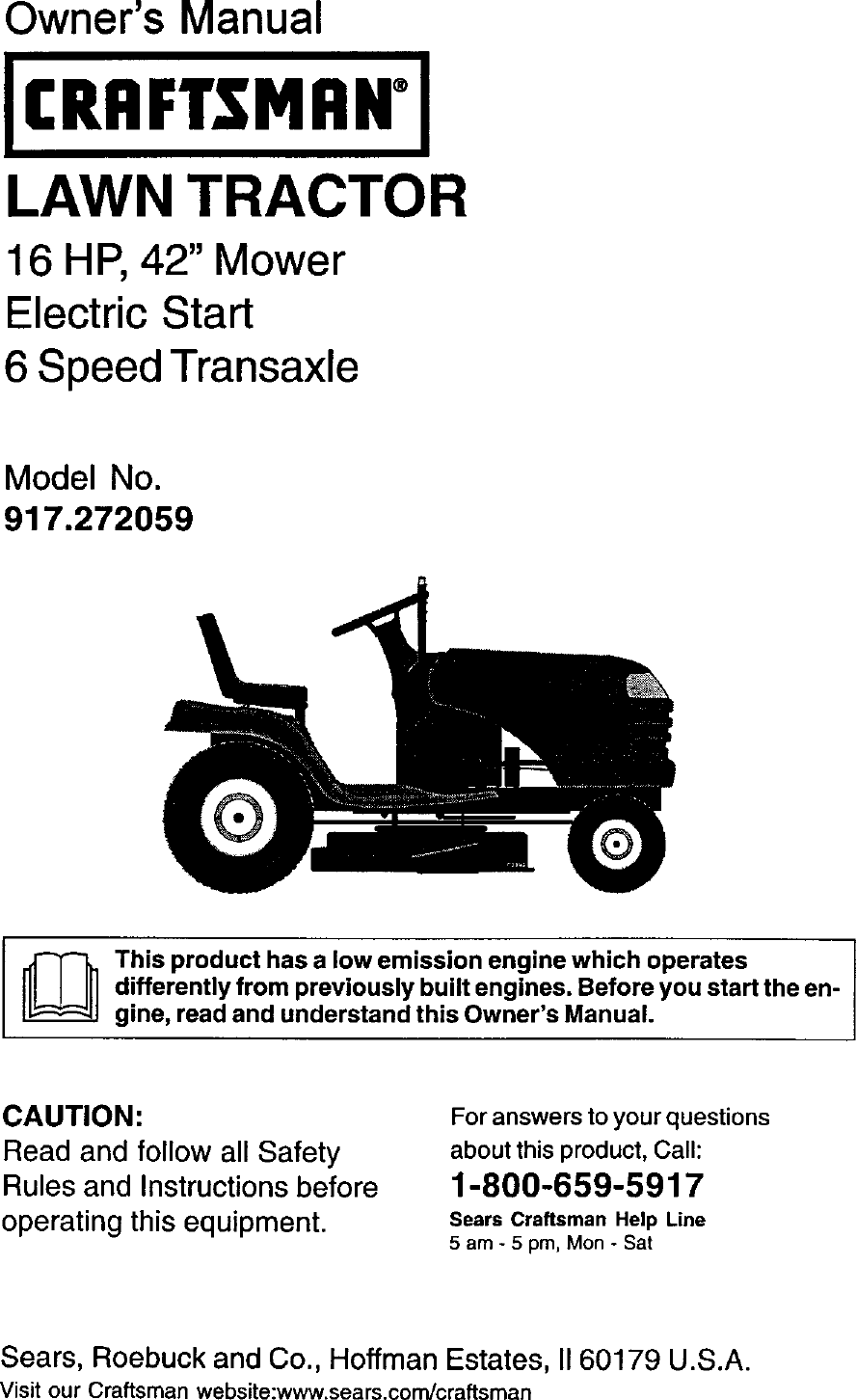 Craftsman Lawn Mower Electrical Schematics 917272059 User Manual Tractor Manuals And Guides L0205012