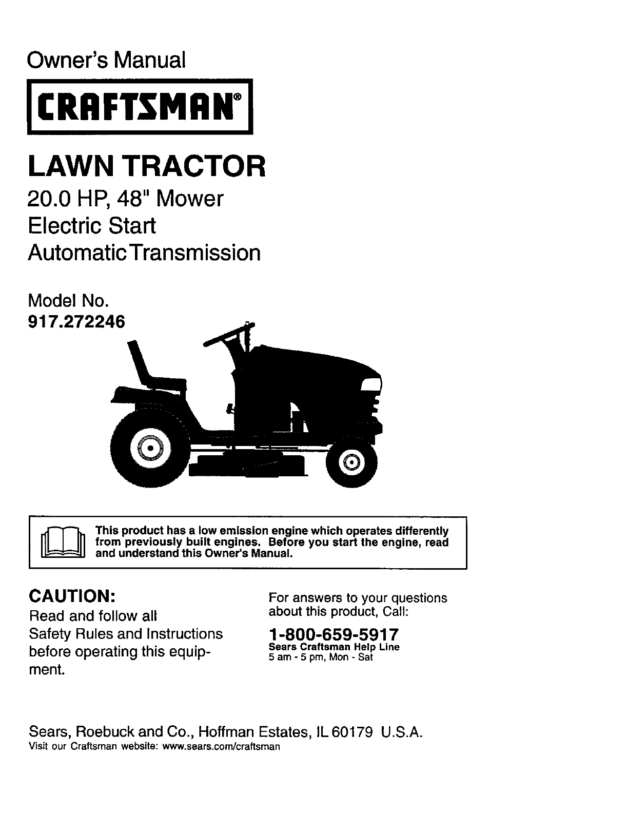 Craftsman 917272246 User Manual Lawn Tractor Manuals And Guides L0202146 Transmission Drive Belt Mower Electric Clutch Owners