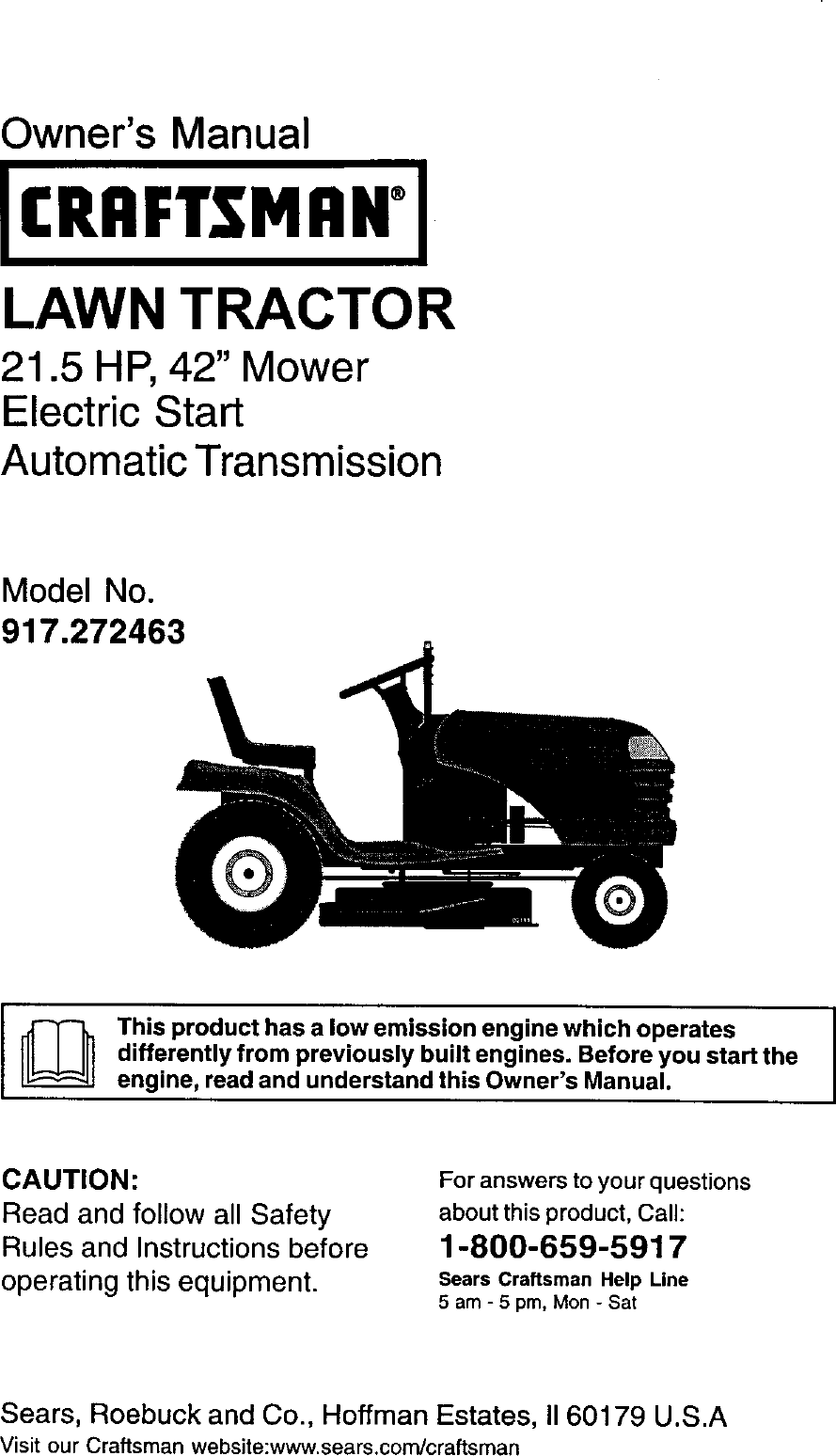 Craftsman 917272463 User Manual Lawn Tractor Manuals And
