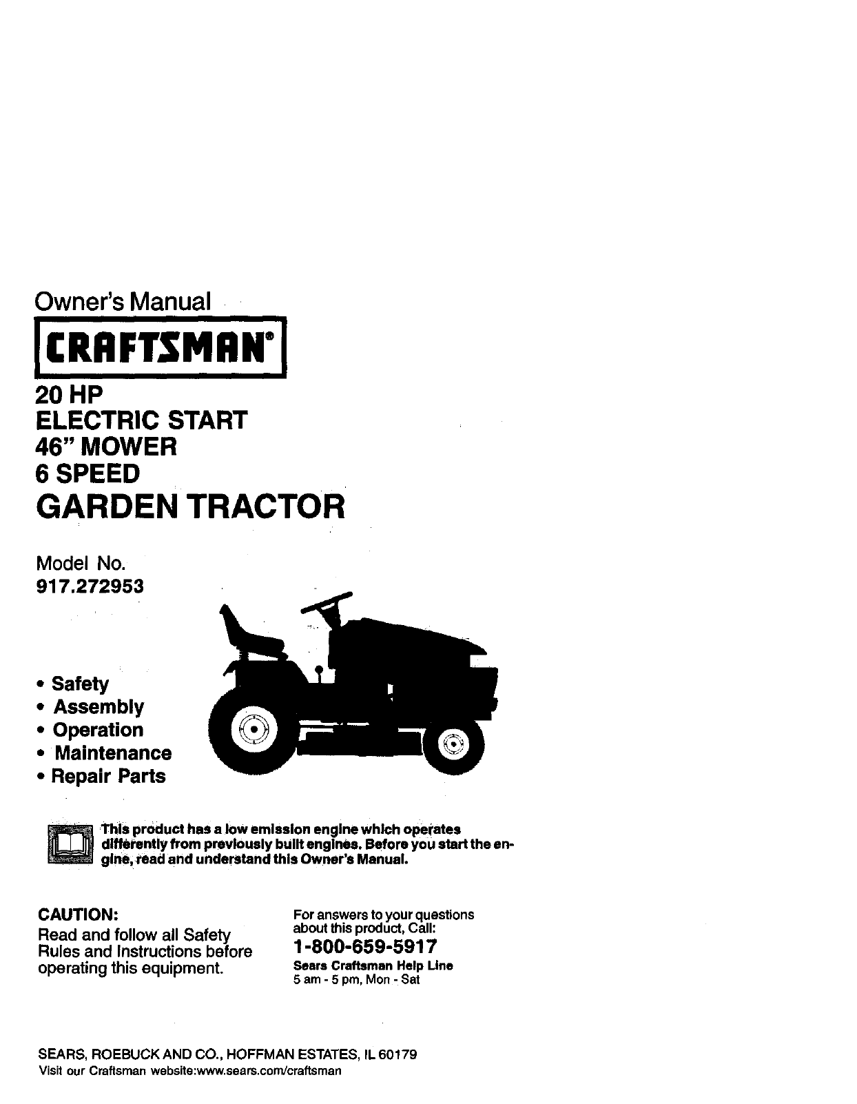 Craftsman 917272953 User Manual Tractor Manuals And Guides L0101144 Case Ingersoll 446 Wiring Diagram