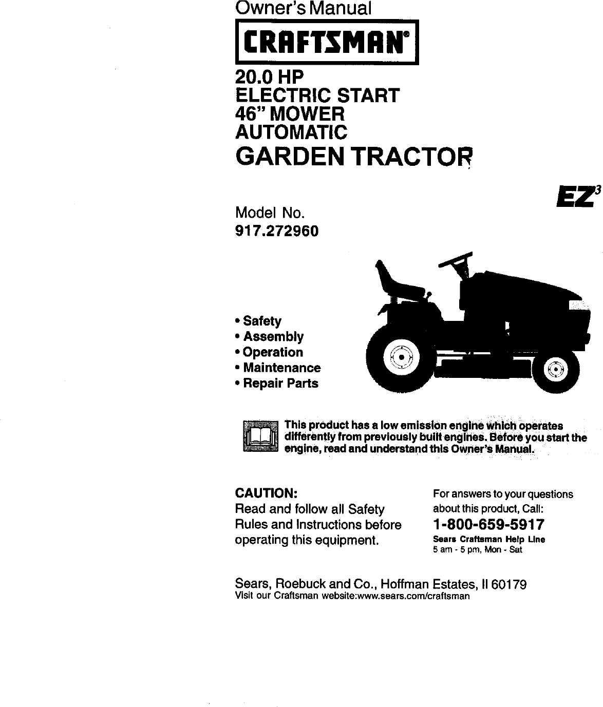 Craftsman 917272960 User Manual TRACTOR Manuals And Guides