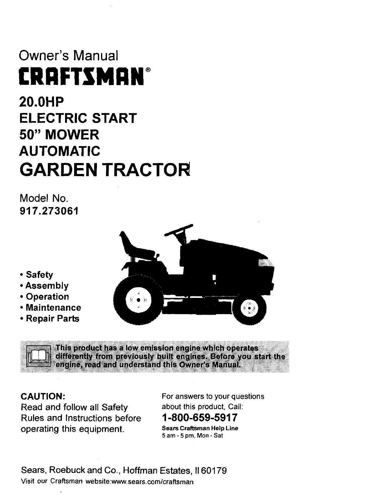 Craftsman 917273061 User Manual Garden Tractor Manuals And Guides Sears Suburban 15 Wiring Diagram L9910387