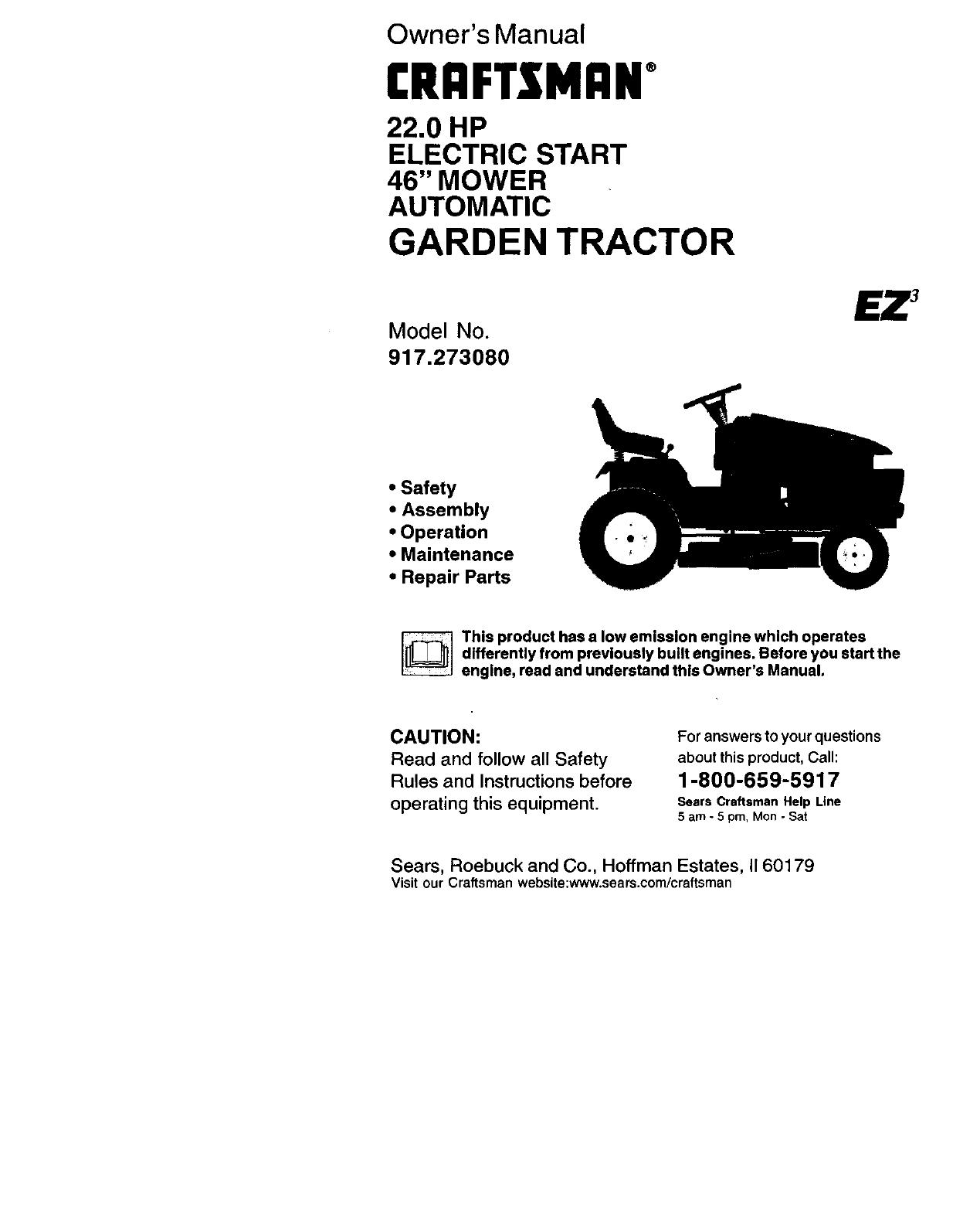Craftsman 917273080 User Manual TRACTOR Manuals And Guides