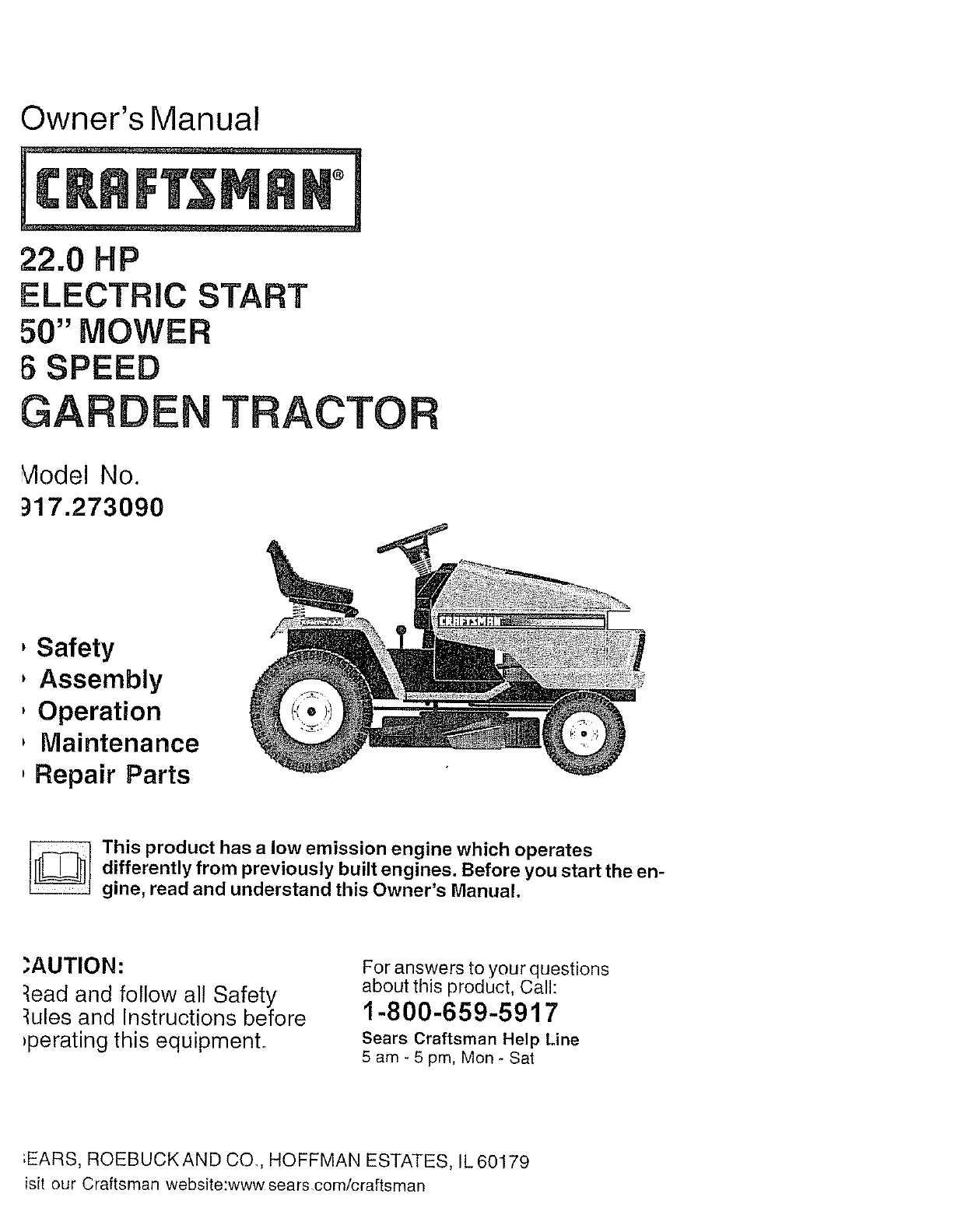 Craftsman 917273090 User Manual TRACTOR Manuals And Guides