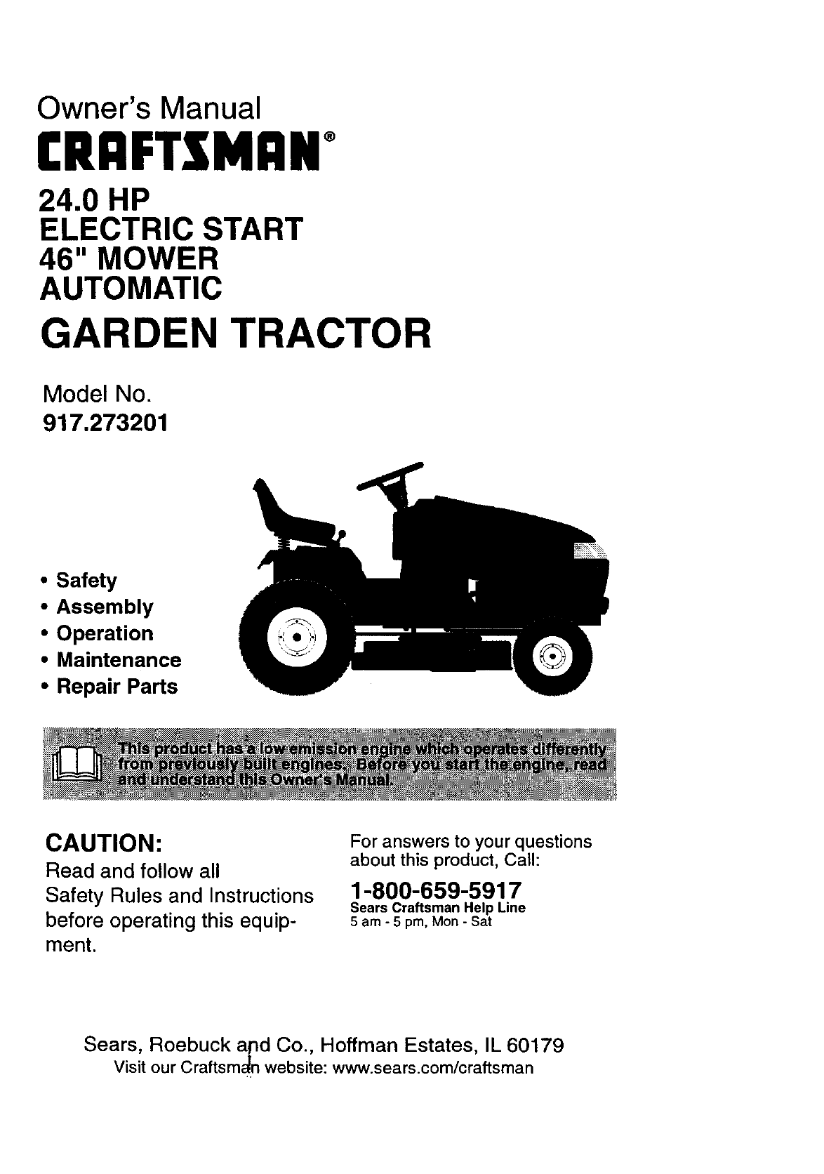 Craftsman 917273201 User Manual 24 Hp Electric Start 46 Mower Lawn Electrical Schematics Owners
