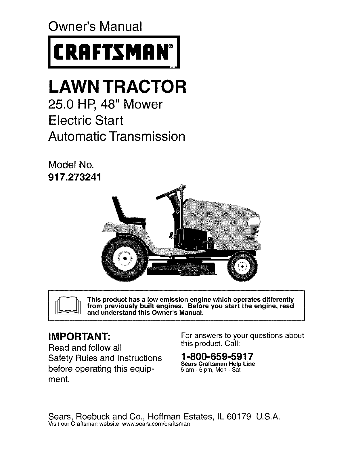 Craftsman 917273241 User Manual TRACTOR Manuals And Guides