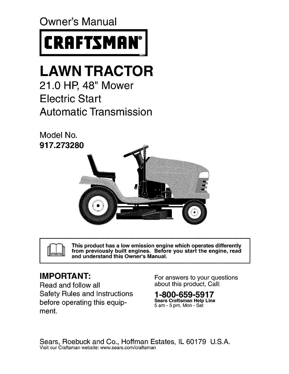 craftsman 917273280 user manual lawn tractor manuals and guides l0308177 rh usermanual wiki owners manual craftsman lt1000 lawn tractor service manual for craftsman riding mower