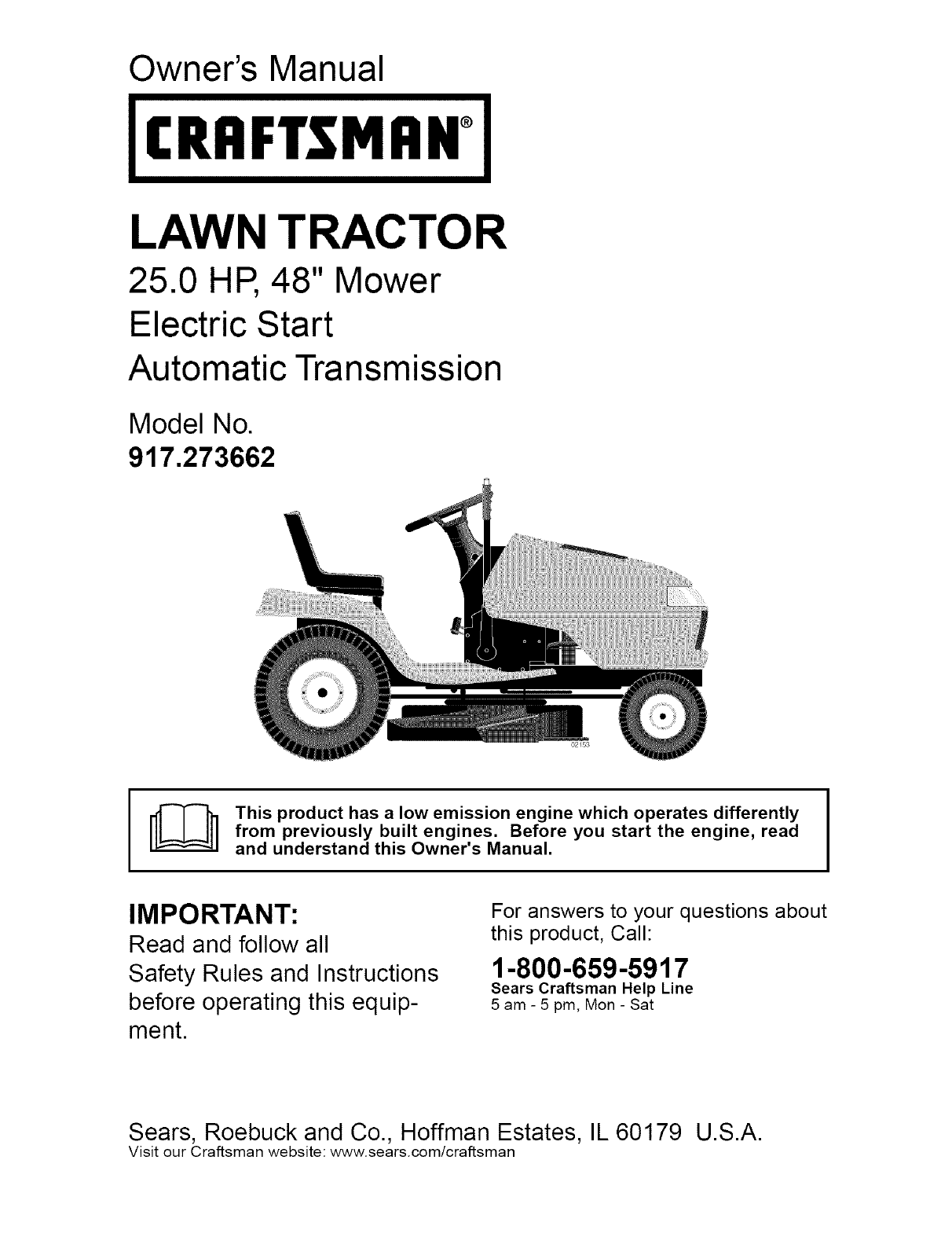 Craftsman 917273662 User Manual LAWN TRACTOR Manuals And Guides ...