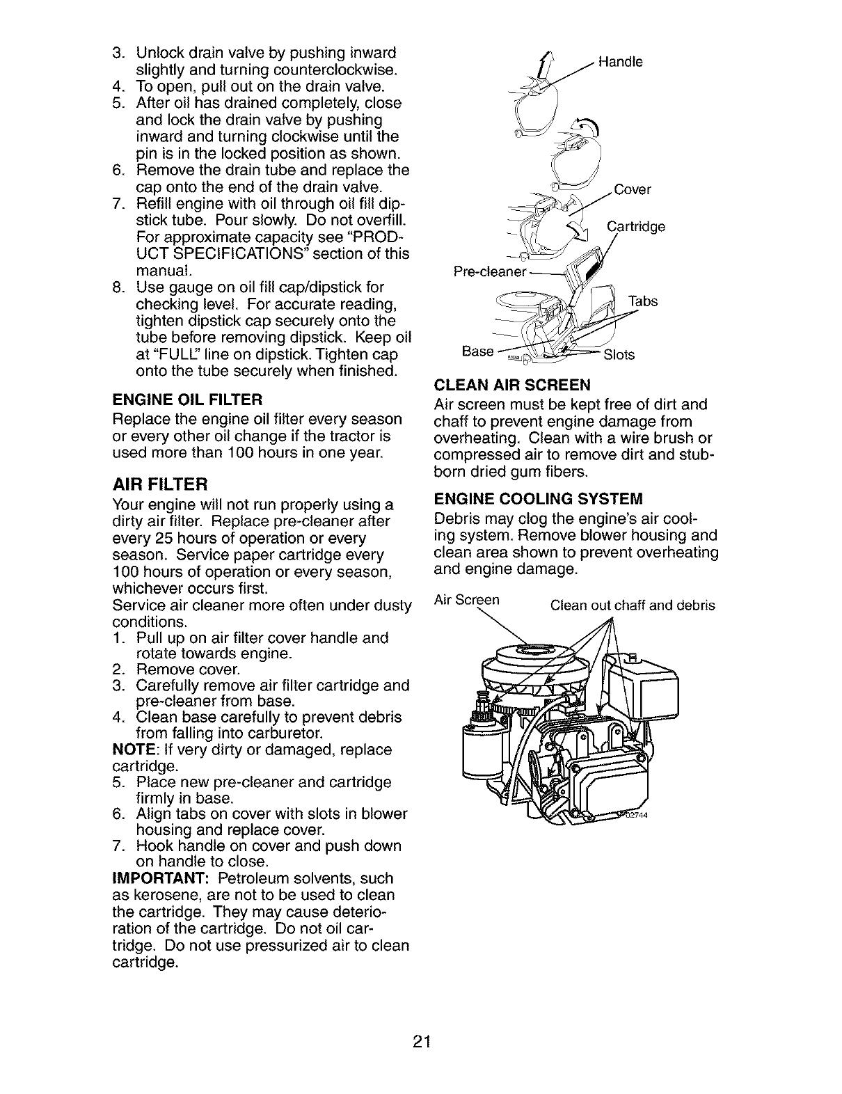 Craftsman 917273761 User Manual Lawn Tractor Manuals And Guides L0403297 Wiring Diagram 917 273761 3 Unlock Drain Valve By Pushing Inward