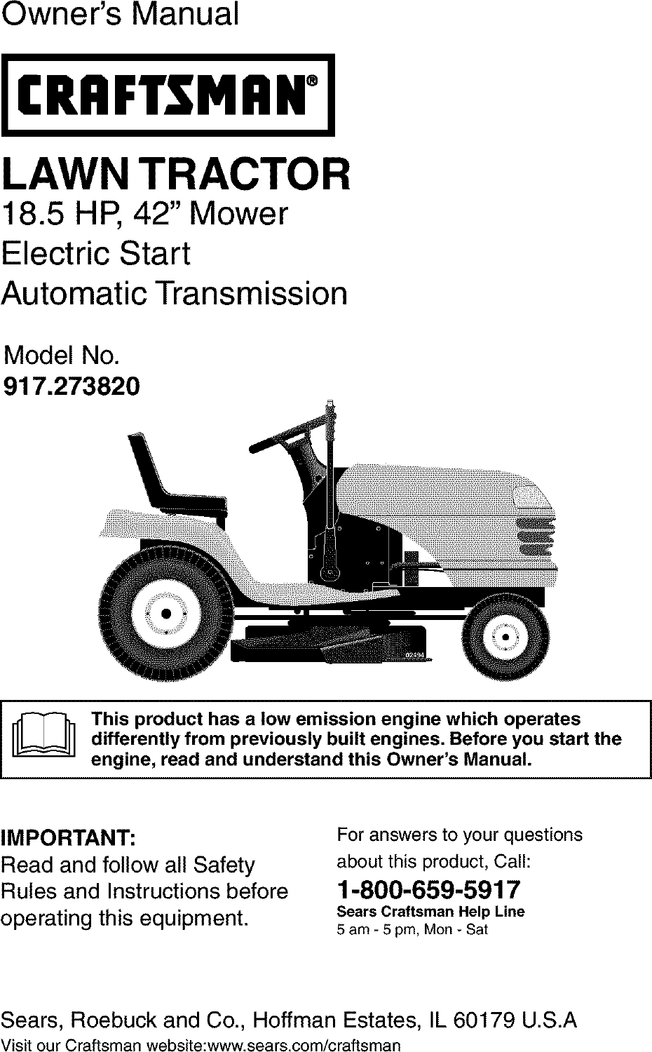 Wiring Diagram Craftsman Model 917 273820 Trusted Schematics Mower 917273820 User Manual Tractor Manuals And Guides L0403219