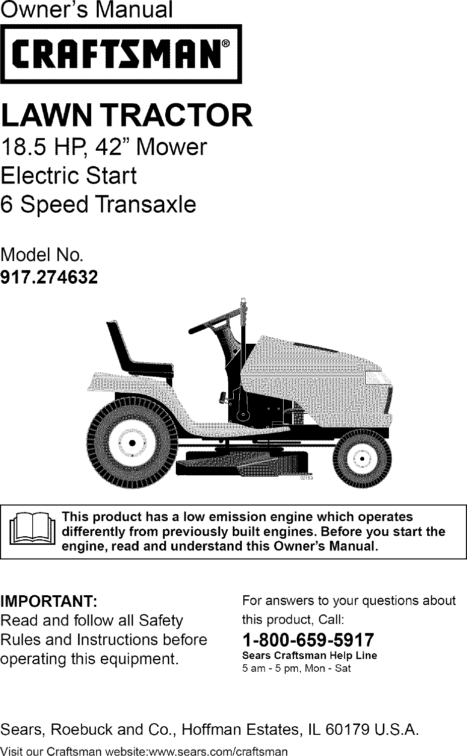 Craftsman 917274632 User Manual Lawn Tractor Manuals And Guides L0409678 Transmission Drive Belt Mower Electric Clutch