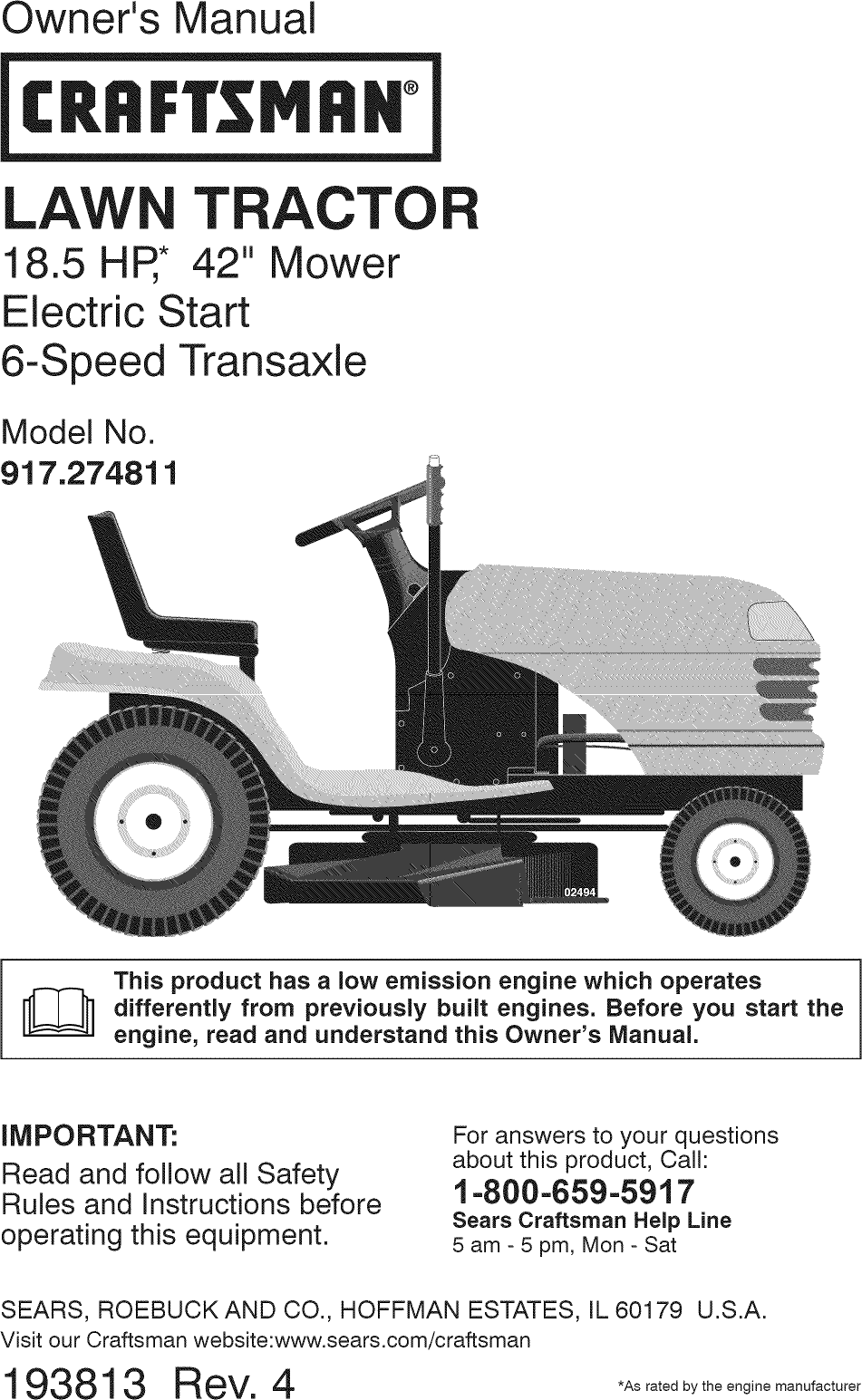 Craftsman 917274811 User Manual Tractor Manuals And Guides L0907040 Lawn Mower Electrical Schematics Owneraposs Manualcrrfrsmrmtracto42quot Mowerelectric Start6 Speed Transaxlemodel No917274811this