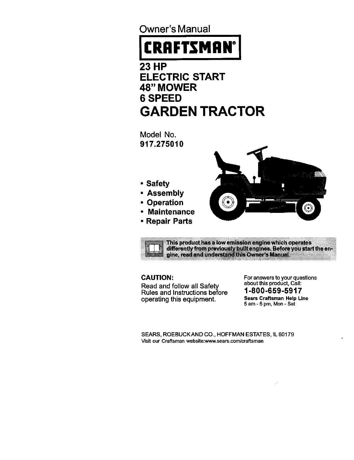 Craftsman 917275010 User Manual LAWN TRACTOR Manuals And