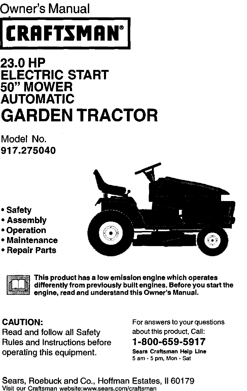 Craftsman Riding Lawn Mower Wiring Diagram Pdf on