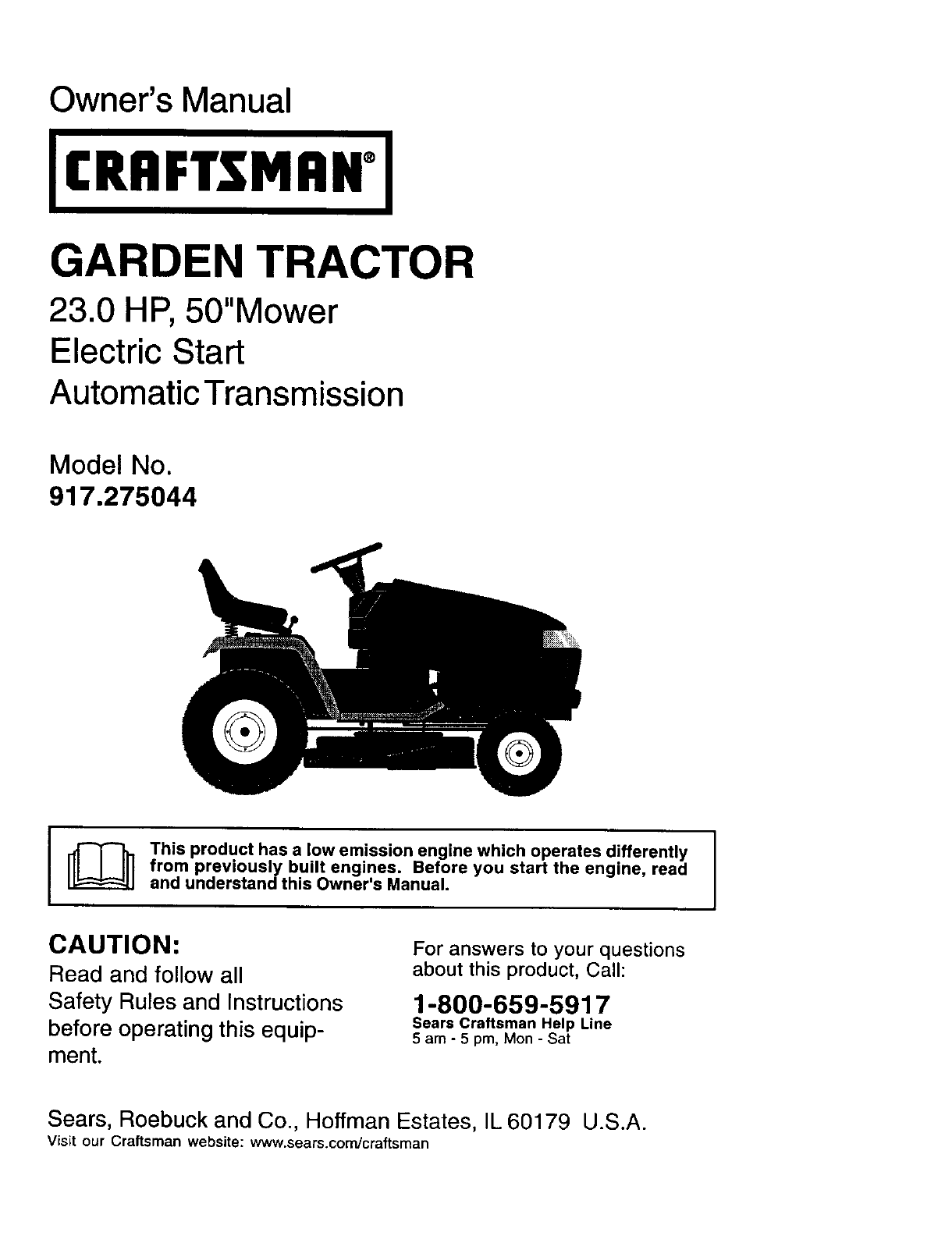 Craftsman 917275044 User Manual Lawn Tractor Manuals And Guides L0203052 Mower Electrical Schematics