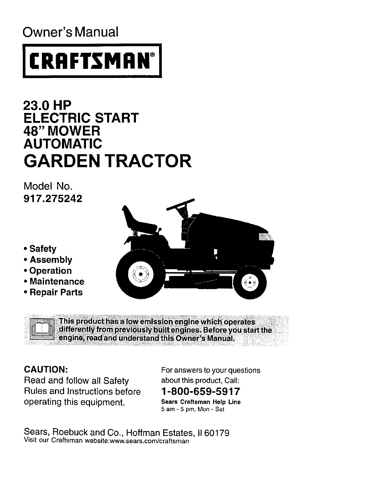 Craftsman 917275242 User Manual Lawn Tractor Manuals And Guides L0109175 Electric Mower Electrical Schematics