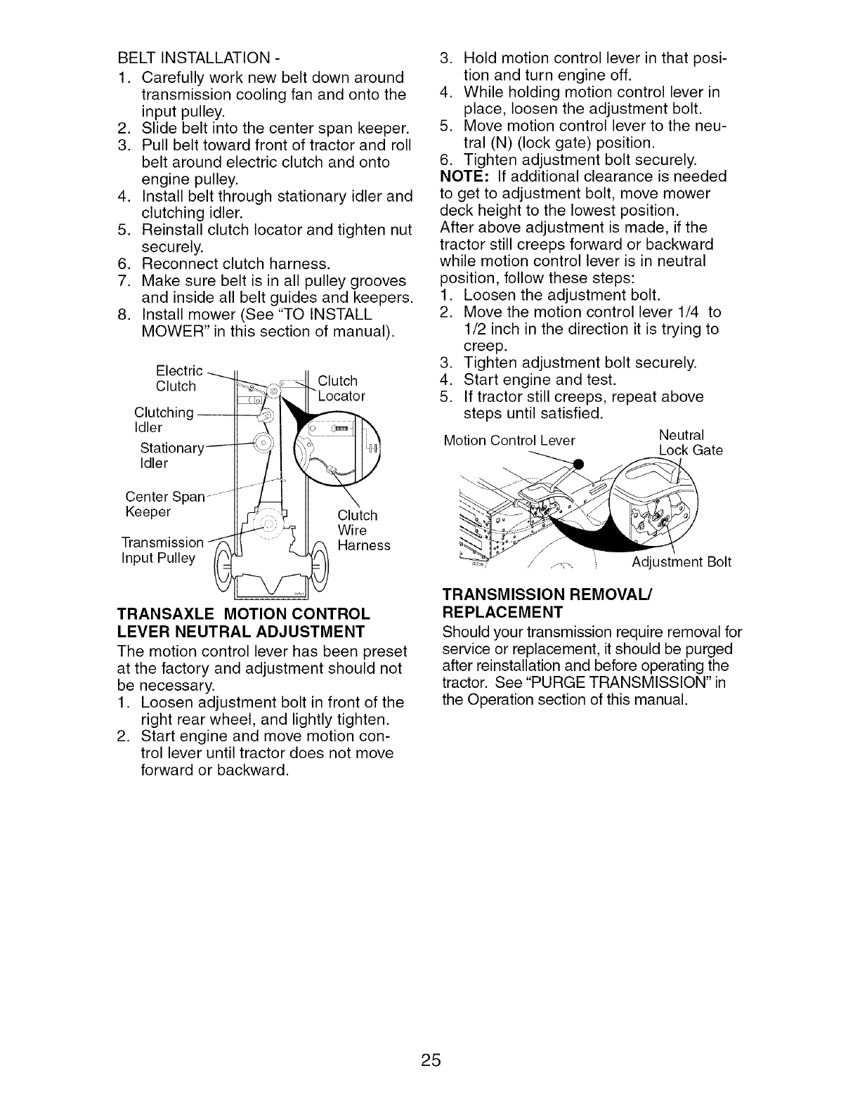 Craftsman 917275660 User Manual Tractor Manuals And Guides L0501293 Helical Wire Harness Lay Belt Installation