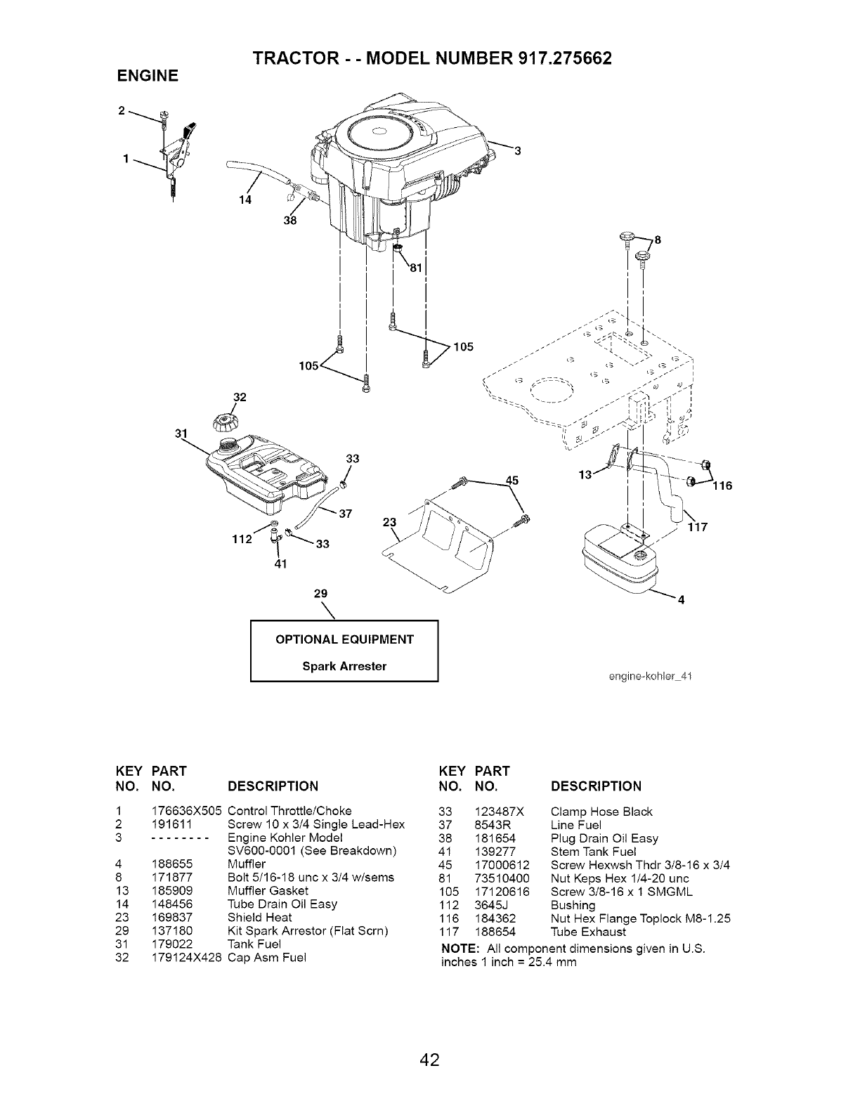 Craftsman 917275662 User Manual Tractor Manuals And Guides L0505017 Kohler 18 Hp 1046 Wiring Diagram Engine Model Number