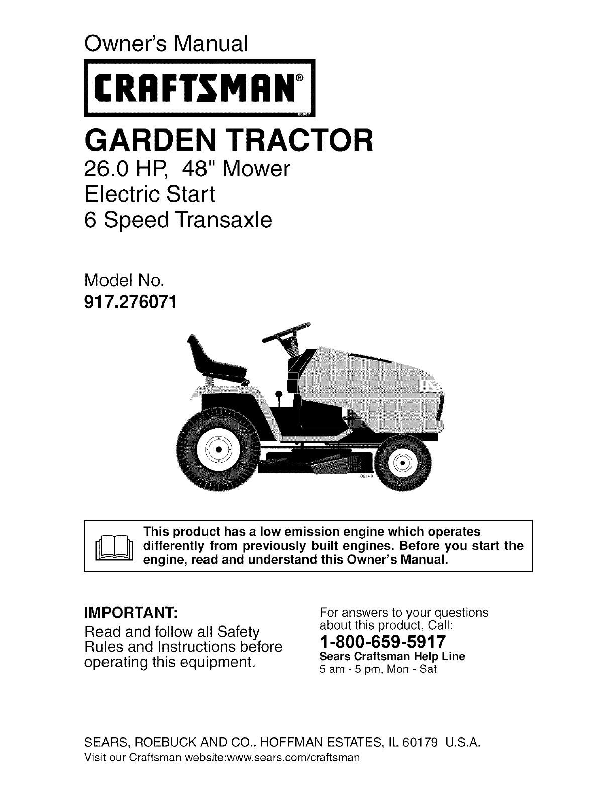 Craftsman 917276071 User Manual Tractor Manuals And Guides L0606005 Lawn Mower Electrical Schematics