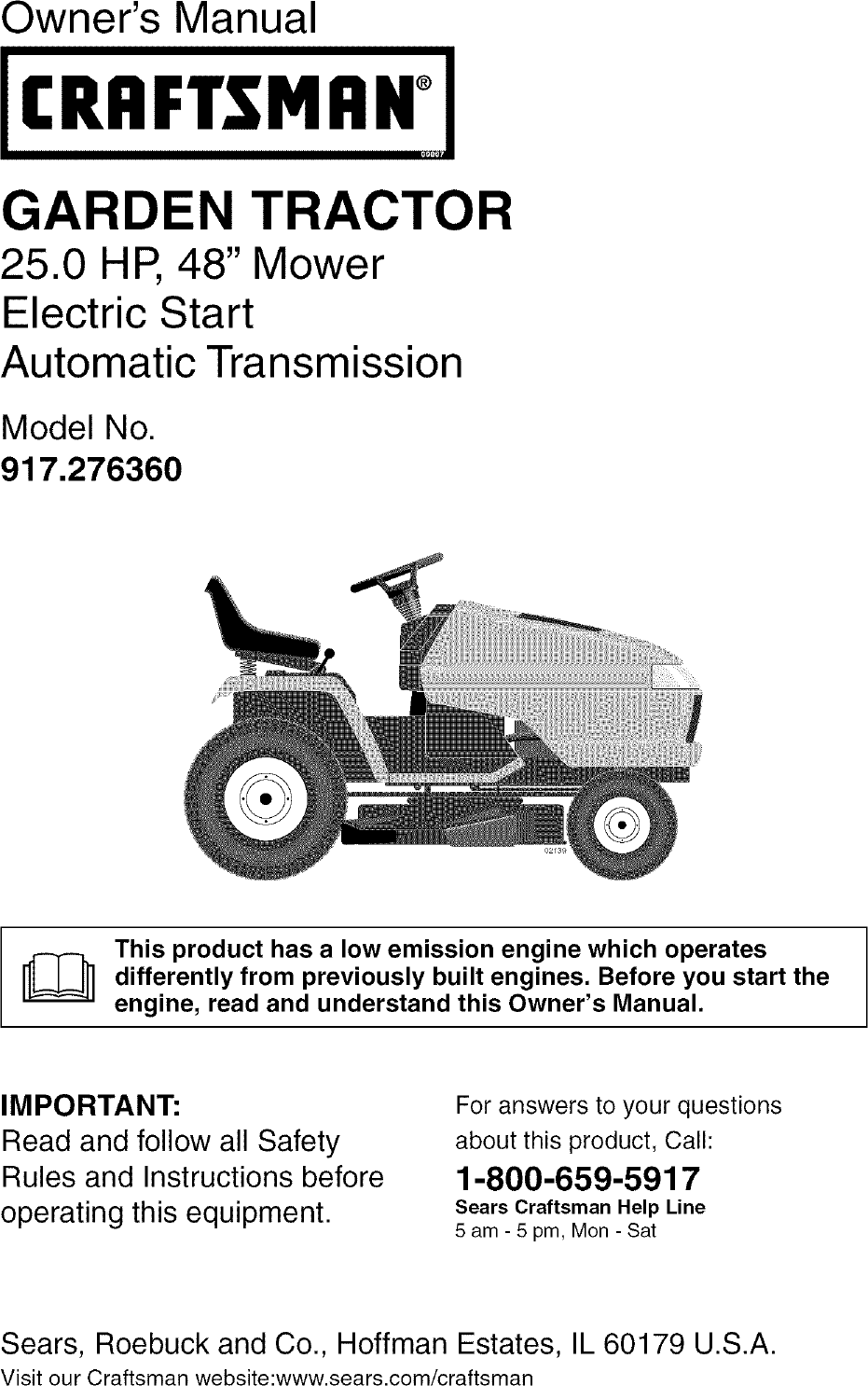 Craftsman 917276360 User Manual Garden Tractor Manuals And Guides Sears 26 Horse Kohler Engine Electrical Diagram L0504212