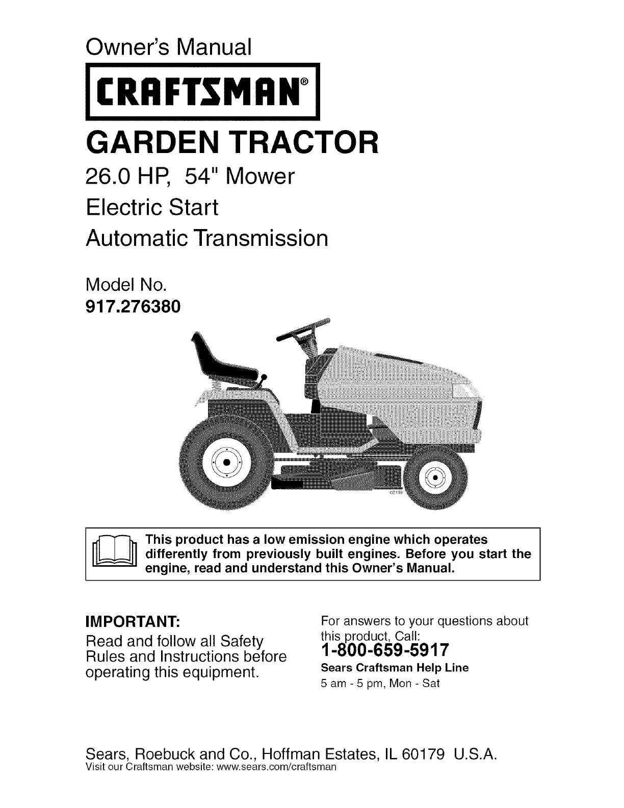 Craftsman 917276380 User Manual Tractor Manuals And Guides L0503415 Sears 26 Horse Kohler Engine Electrical Diagram