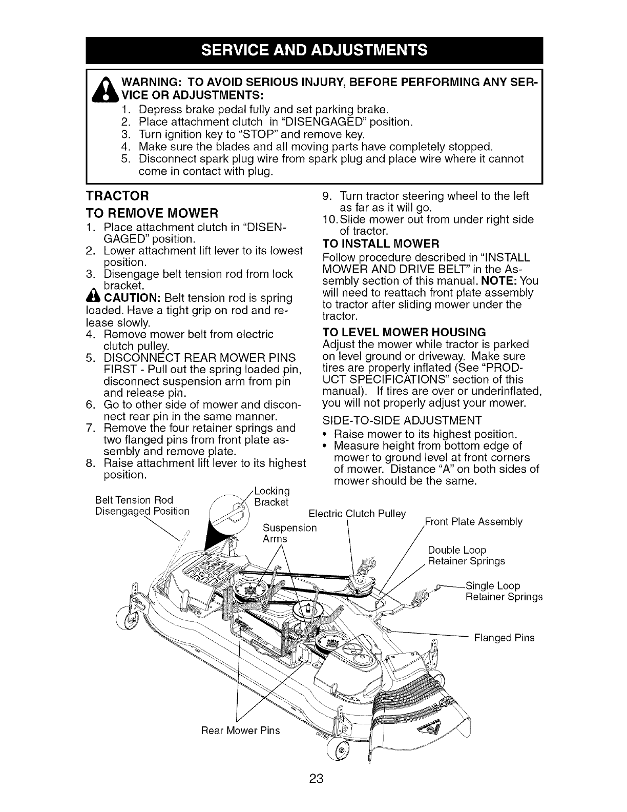 Craftsman 917276380 User Manual Tractor Manuals And Guides L0503415 Ignition Switch Wiring Diagram 5 Prongs Warning To Avoid Serious Injury Before Performing Any Ser