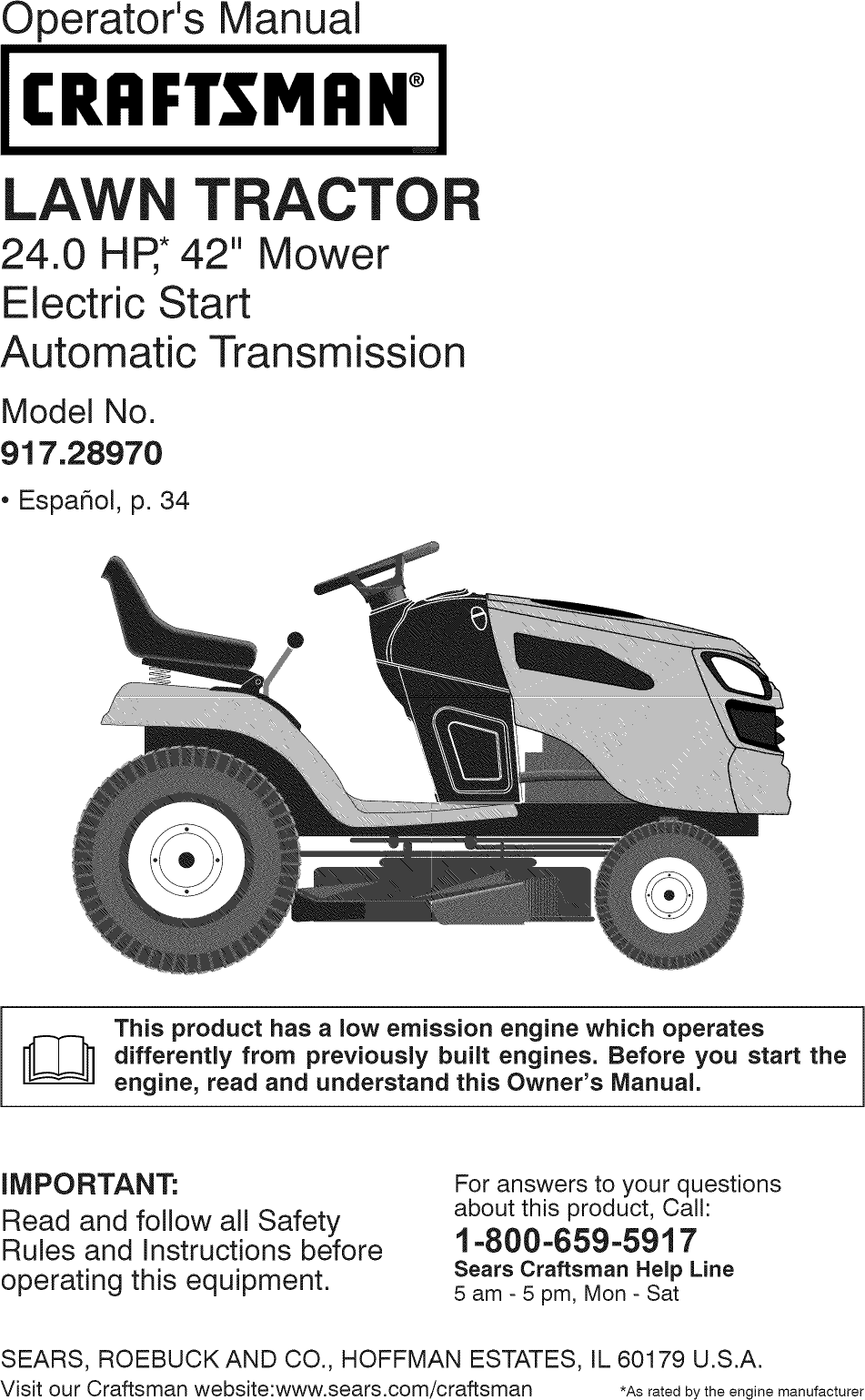 craftsman 917289700 user manual tractor manuals and guides l0901665 rh usermanual wiki owners manual craftsman dys 4500 lawn tractor Craftsman Tractor Manual PDF